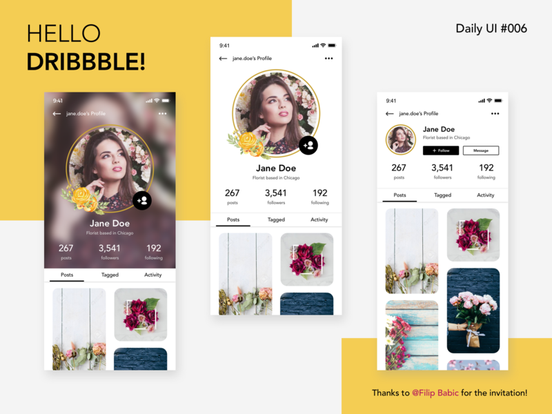 Daily UI #006 - Profile Page minimalist daily ui 006 ui mobile app photo sharing social media user profile profile page