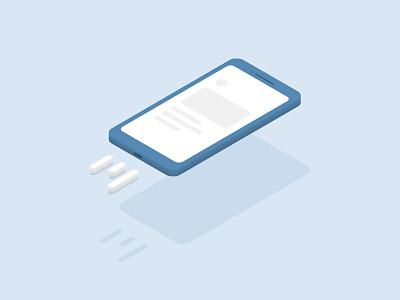 Phone vector flying levitate pastel illustration isometric ui grey blue application phone mobile