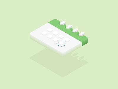 Calendar vector flying levitate pastel illustration isometric ui green calendar