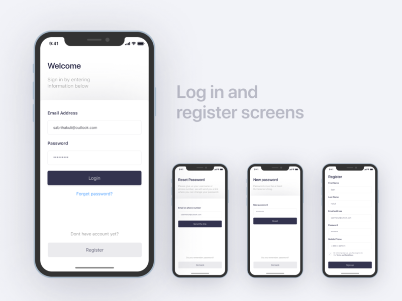 Log in and register screens reset password forget form field form login form register login products product ios development developers ux adobe xd figma web design uiux ui