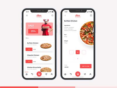 Alan Pizza | App Design menu pizza box pizza menu food ux ui design web design uiux figma ui pizza logo pizza