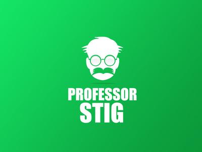 Professor Stig 2d flat book logo logotype professor glasses face negative space
