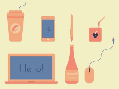 Creative Essentials 2d flat vector icons coffee iphone macbook wacom wine mouse juice box