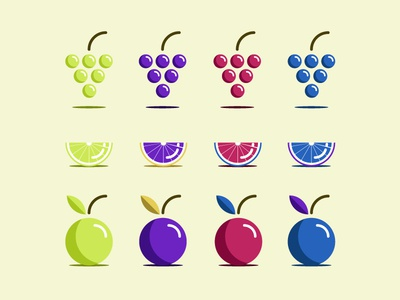 Assorted Colorful Fruit 2d flat vector icons fruit grape orange apple lime free resource pack