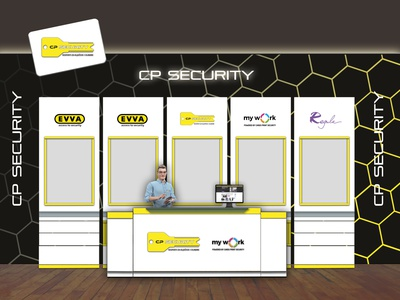 Exhibition booth design for CP Security and Cards Print company exhibition design exhibition booth design technology ecommerce event design illustration branding