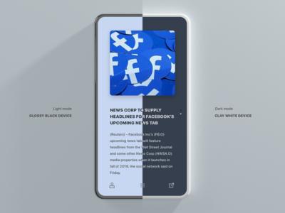 Light and Dark, Minimal News App