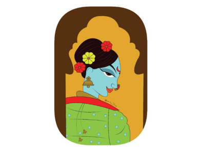 Rajput and Jamini roy style illustration