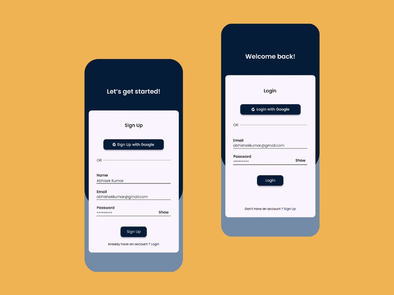 Sign Up | Login Screen | Daily UI 01