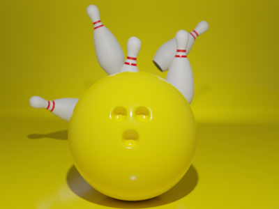 Hit Me Up design 3d blendercycles blender3dart blender3d 3d art bowling ball bowling pin