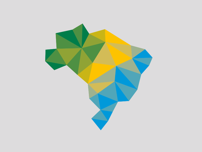 low poly experimental logo brazil colors blue yellow green brasil logo design low poly pattern texture