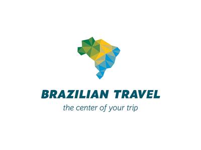 Brazilian Travel - Brand blue green pattern brasil brazil colors design logo low poly texture yellow