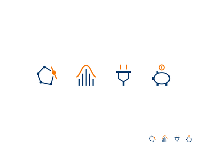 Icons optimization finance energia energy statistics pig two colors small icons