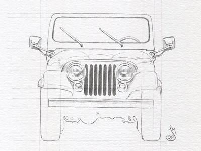 Jeep Sketch WIP wip auto jeep mst3k sketch illustration rifftrax