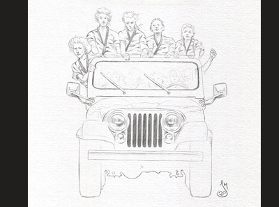 Jeep Sketch WIP2 wip jeep drawing sketch mst3k rifftrax illustration