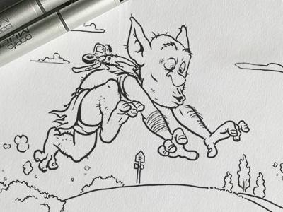 Inktober: Gigantic & Run kidlitart inktober2017 daily doodle dailydoodle inktober drawing sketch illustration