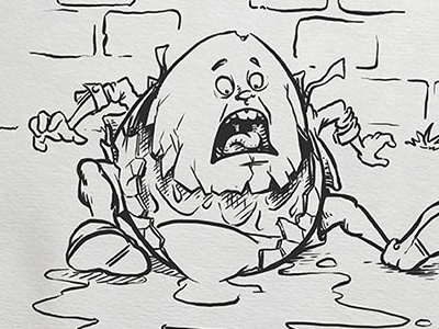 Inktober: Shattered humpty dumpty kidlitart inktober2017 daily doodle dailydoodle inktober drawing sketch illustration