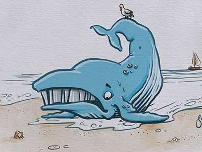 Inktober: Beached kidlitart colour-collective whale inktober2017 daily doodle dailydoodle inktober drawing sketch illustration
