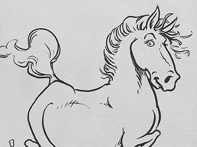 Inktober: Graceful filly horse pony kidlitart inktober2017 daily doodle dailydoodle inktober drawing sketch illustration