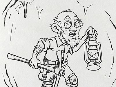 Inktober: Deep miner gnome kidlitart inktober2017 daily doodle dailydoodle inktober drawing sketch illustration