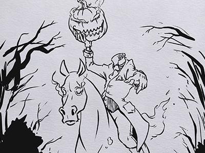 Inktober: Headless Horseman headless horseman kidlitart inktober2017 daily doodle dailydoodle inktober drawing sketch illustration