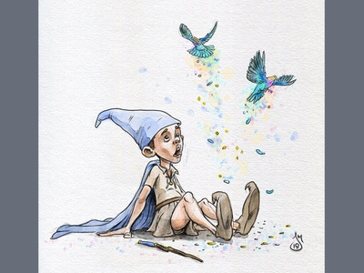 Inktober Day 7: Enchanted - Sorcerers Apprentice