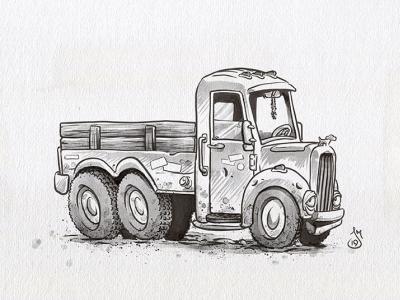 Inktober Day 16: Ornament - Ol'Tobby truck inktober2019 ink inktober cartoon doodle daily doodle sketch drawing illustration