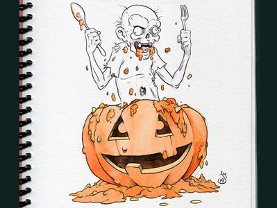 Inktober 2019 Day 25: Tasty wip halloween pumpkin jackolantern cartoon inktober2019 inktober ink daily doodle drawing sketch illustration