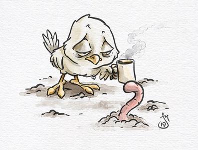 Inktober 2019 Day 30: Catch coffee early bird bird inktober2019 inktober ink cartoon doodle daily doodle sketch drawing illustration