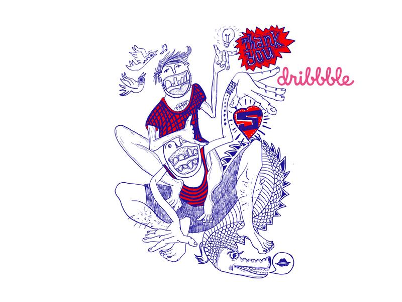 Hello dribbble! love birds heart kiss thank yout crocodile bulb first shot dribbble flat design vector illustration