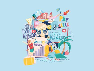 SEO Illustration pay per click google ranking online marketing traveling palm rocket social media marketing contentmarketing werbung anzeige graphicdesign seo son luu vu luckyluu seowerk design illustration