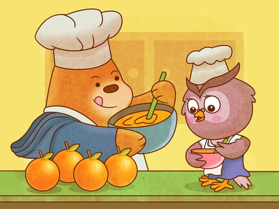 Bear Cooking with Owl