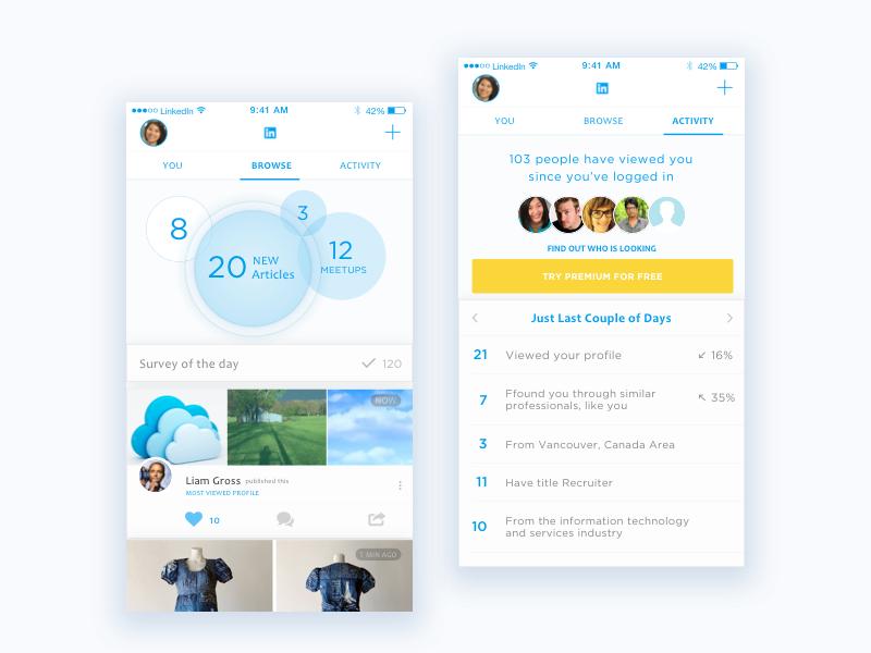 LinkedIn App Redesign fresh ui linked app profile data flat light