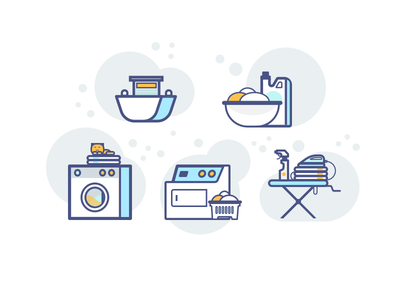 Laundry Colored Icons clean illustration iron chemicals drying washing color flat icons