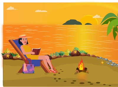 Lady relaxing on a beach Sunset Ambience speedart character beach party beach illustration design