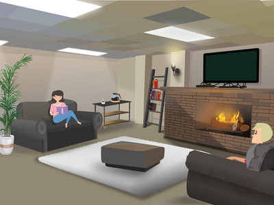 Interior design of A Lower Room vector speedart character animation lower sofa room design interior illustration