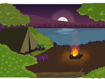 Camping beside river animation campfire riverside rivers camping site camping camp bay river beach vector speedart illustration