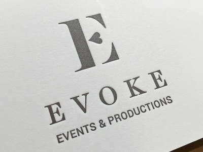 Evoke business card letterpress branding logotype typography logo