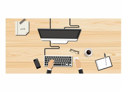 Vector Office Table Work Design graphic design vector office table work design