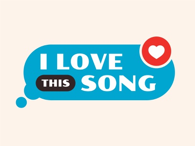 I Love This Song promotional brand promotional community music song love reaction react heart poller one text brand logo