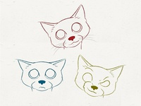 Cat Expressions line drawing illustration emotion expression cat