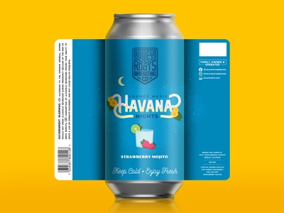 Lounge Music: Havana Nights - Wiley Roots Label Design packaging design label brewery beer mojito lime strawberry havana nights cuba havana illustration custom lettering lettering