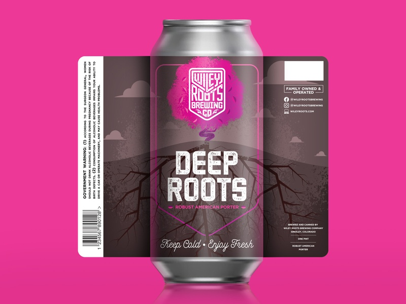 Wiley Roots - Deep Roots Label brewery beer roots tree illustration label