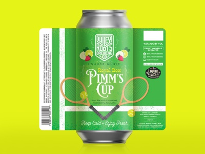 Lounge Music: Royal Pimm's Cup - Sour Ale beer branding brewery green tennis ball tennis packaging design beer label beer illustration packaging label