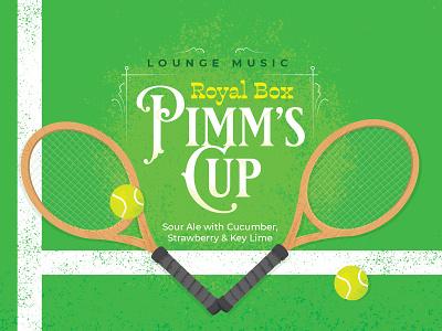 Lounge Music: Royal Pimm's Cup - Sour Ale beer branding brewery green tennis ball tennis packaging design beer label beer illustration packaging label