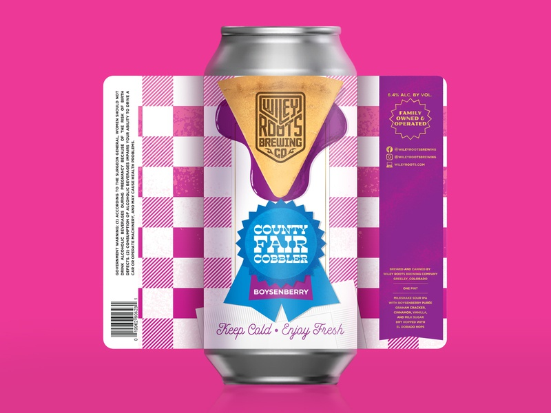 Boysenberry County Fair Cobbler - Sour IPA beer branding beer can picnic illustration blue ribbon gingham county fair pie beer label