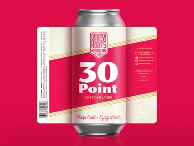 30 Point Label - Wiley Roots 30 lager brewery packaging beer label