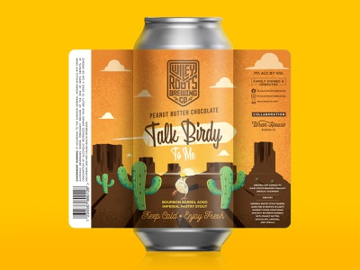 Talk Birdie To Me - Peanut Butter Chocolate Label - Wiley Roots mesas cactus dessert bird illustration packaging label beer label beer branding beer