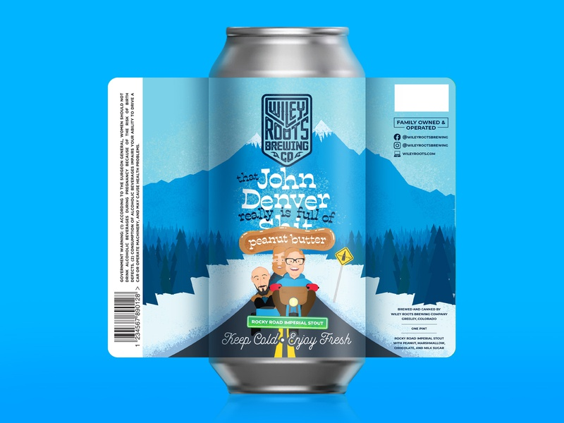 That John Denver Really is full of Shi--Peanut Butter! blue aspen dumb and dumber character design illustration stout rocky mountains beer branding branding