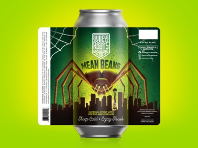 Mean Beans Label destruction seattle coffee beer beer label movie poster spider packaging illustration