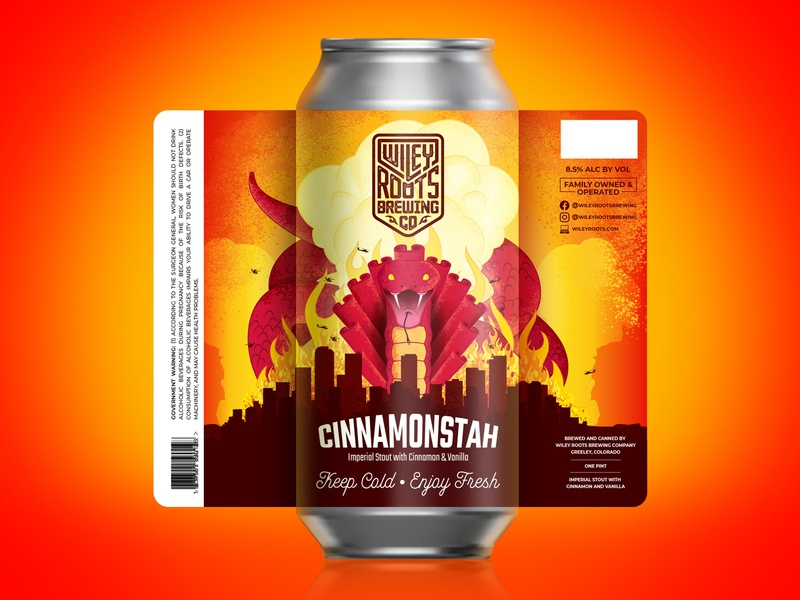 Cinnamonstah Label illustration monster destruction snake brewery beer label label package design packaging